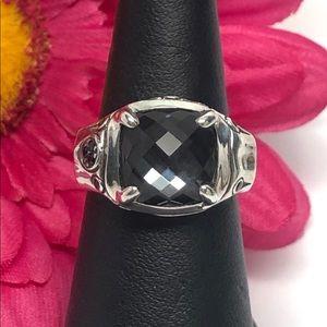 Sapphire / Quartz Bamboo Cushion Ring .925